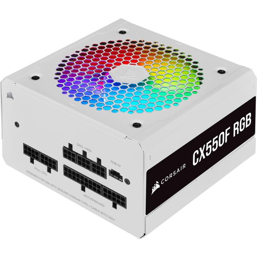 Corsair CX Series CX550F RGB White 550W 80Plus Bronze Fully Modular Power Supply CP-9020225-NA