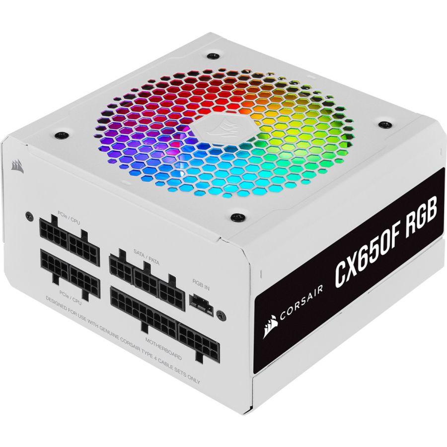 Corsair CX Series CX650F RGB 650W White 80Plus Bronze Fully Modular Power Supply CP-9020226-NA